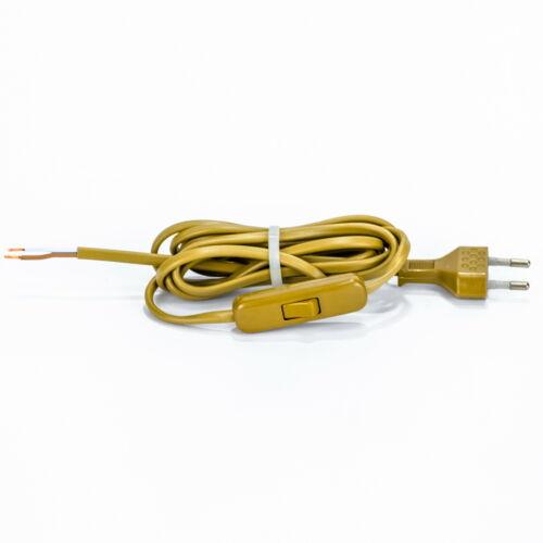 Euro Anschlußleitung 2m Lampen-Anschluss Kabel mit Eurostecker mit Schalter gold