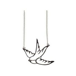 Collectif-Swallow-Silhouette-Necklace-Silver-Rockabilly-Pin-Up-Tattoo-Jewellery