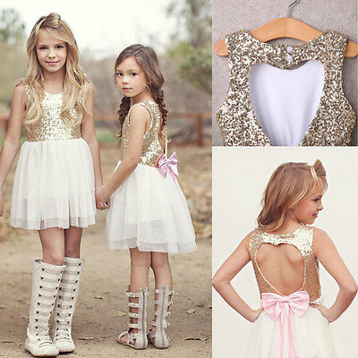 Sequins Baby Flower Girl Dress Bow Backless Party Gown Bridesmaid Dresses 3-10Y