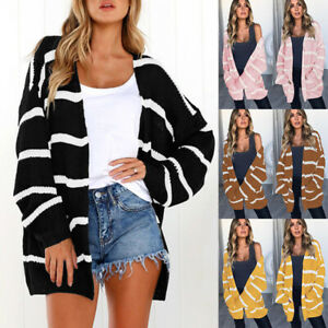 Women-039-s-Cardigans-Striped-Loose-Sweater-Chunky-Cable-Knit-Open-Front-Long-Winter