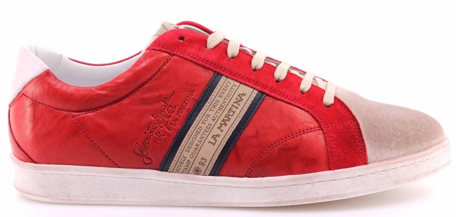 Herren Schuhe Sneakers LA MARTINA L3006204 Camoscio Farro Plutone Rubino Rot Neu