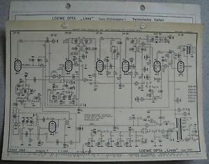 LOEWE OPTA Typ 3940 Lissy Schaltplan, Ausgabe 1, Stand 01/58 auf Hochglanzpapier