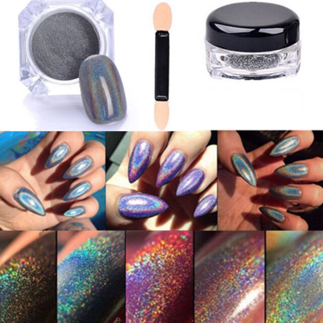 2g Holographic Rainbow Nails Effects Ultra Fine Chrome Powder Pigment Polish Kit