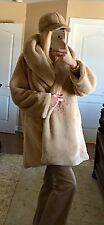 NWT Brown Faux Fur Coat With Hat One Size