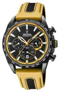Festina Mens Black PVD Plated Chrono Leather Strap F20351/4 Watch - 8% OFF!