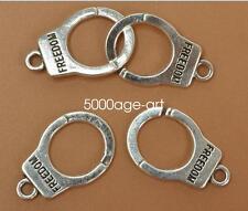 Free Ship 210 pieces Antique bronze handcuffs connector 31x10mm #1384