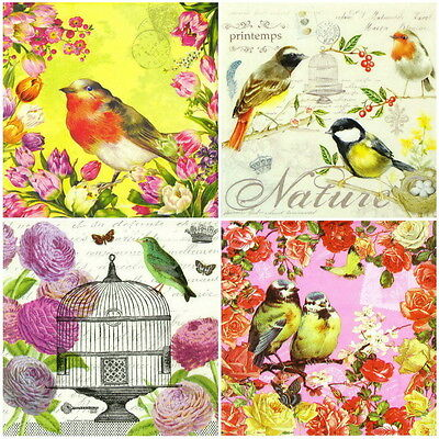 4x Single Table Party Paper Napkins for Decoupage Decopatch Vintage Birds Mix
