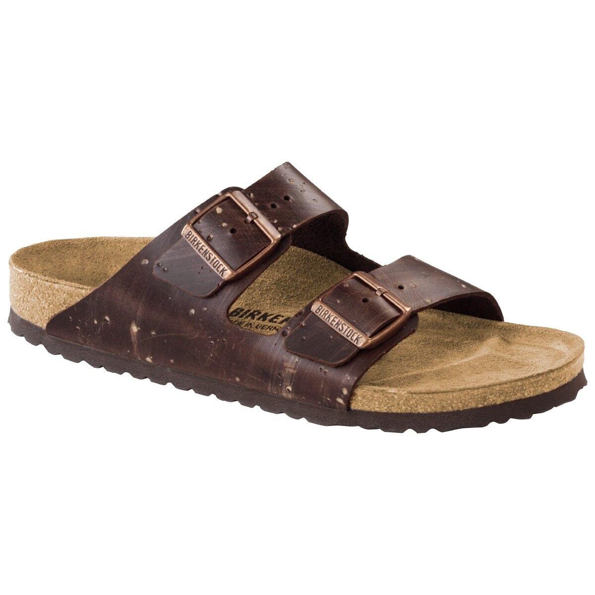 Birkenstock arizona nubukleder zapatos sandalia Brown ancho Silver normal 1006576