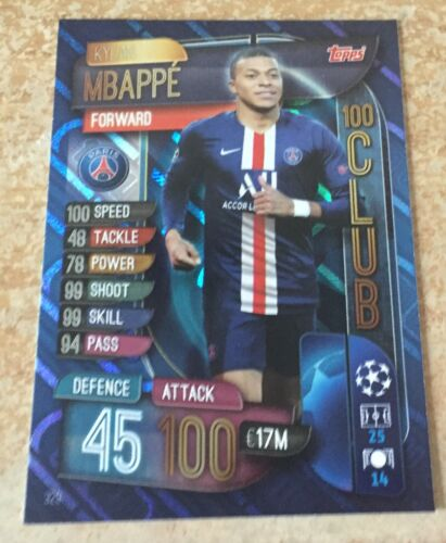 Match Attax 2019//20 19//20 Kylian Mbappe sobre Tamaño Trading Card-PSG