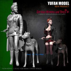 German-Women-And-Dogs-1-35-Scale-Unpainted-Model-Kits-YUFAN-Model-Figurine-Resin
