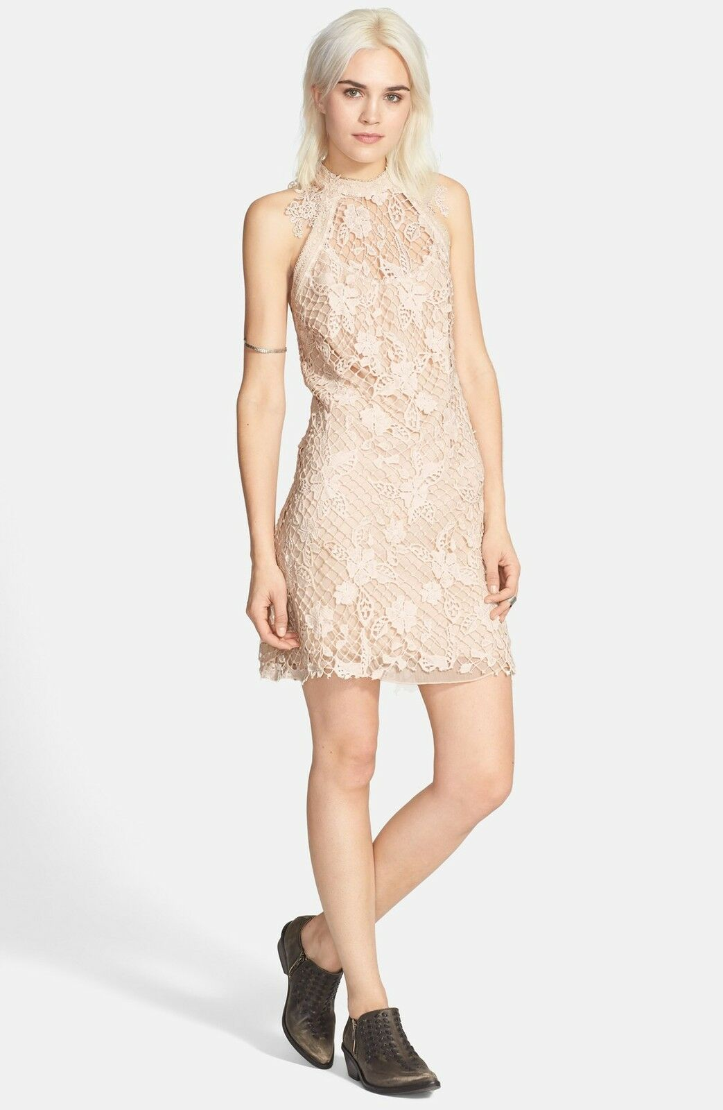 NEW FREE PEOPLE 'Snowdrop' Lace Overlay Trapeze DRESS SIZE XS  250 SOFT SHELL