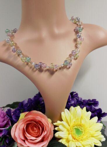 Glass Jewels Silber Kette Collier Perlen 3 Reihig  Bunt Sommerlich #A068