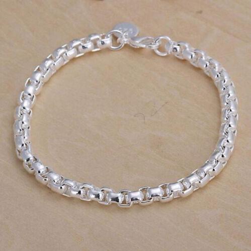 New Bijoux Femmes Mode Argent Sterling 925 Plaqué Cuff Charme Chaîne Bracelet