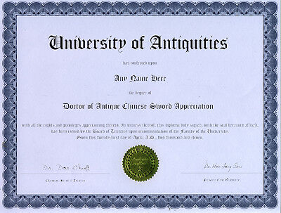 Doctor Antique Chinese Sword Appreciation Diploma