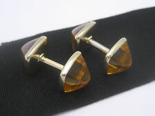 Antique Art Nouveau Deco era 14K Gold Fill Crystal Sugarloaf Cabochon Cufflinks