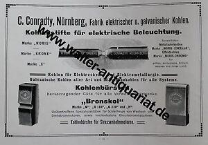 Conradty-Nuernberg-elektrische-galvanische-Kohlen-2-Seiten-Werbeanzeige-von-1910