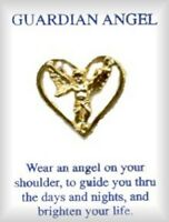 Eternity Guardian Angel In Heart Lapel Pin, Gold Plated, Made In Usa,