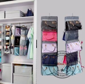 Image Is Loading 10 Pocket Shelf Purse Handbag Hanging Tidy Organizer