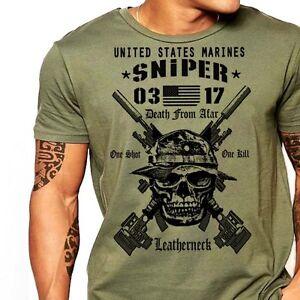 USMC-Scout-Sniper-T-Shirt-US-Marines-MOS-0317-Combat-Arms-Men-Cotton-Tee-New