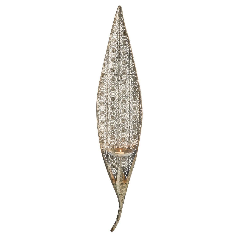 Ornate Leaf Candle Holder - Antique Metal 91cm