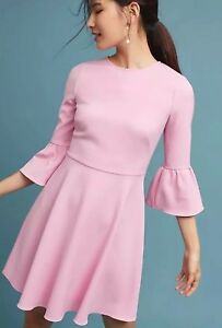 mouwen maat Dara crêpe jurk roze Shoshanna Nieuwe 6 Bell oWQxeCrdB