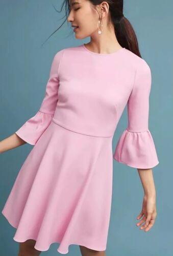 6 Shoshanna Nieuwe Bell mouwen roze crêpe maat jurk Dara WExrCeoBQd