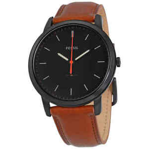 239a449841b246 Image is loading Fossil-Minimalist-Black-Dial-Brown-Leather-Men-039-
