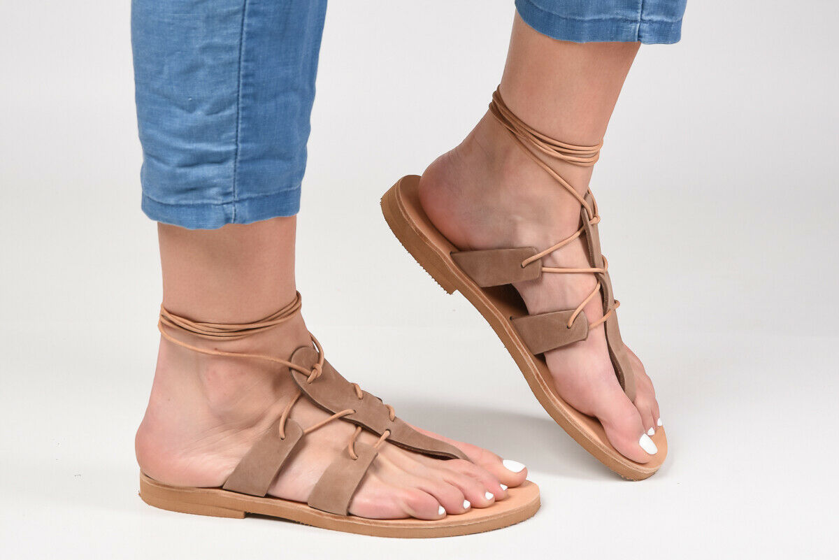 Ancient Greek style gladiator lace up leather sandals taupe leather handmade