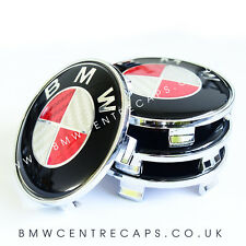 RED & WHITE CARBON FIBER BMW 68mm Alloy Wheel Centre Caps x4  NEW 2017