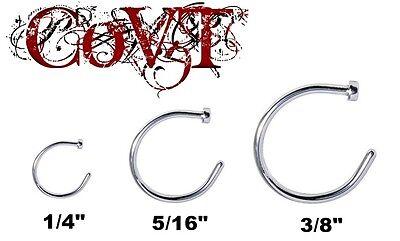 "20G Nose Hoop Ring 1/4"" 5/16"" 8mm 3/8"" 10mm Surgical Steel Piercing Silver Stud"