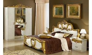 Details zu Klassisches Schlafzimmer Komplett Beige-Gold Hochglanz Barock  Italienische Möbel