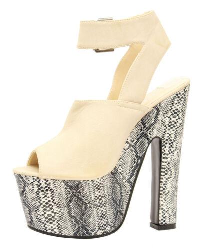 Ladies Womens Super Hi Platform High Heel Ankle Strap Chunky Sandals Shoes Size