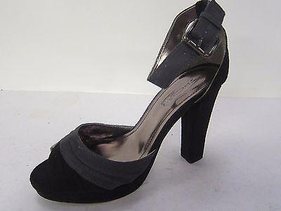 Zapatos de tacón alto señoras Punto en Negro/Gris Bloque Tacón Alto estilo F1258