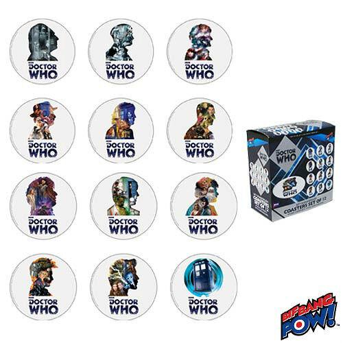 Bif Bang Pow BNIP US Seller Doctor Who 50th Anniversary Coasters Set of 12
