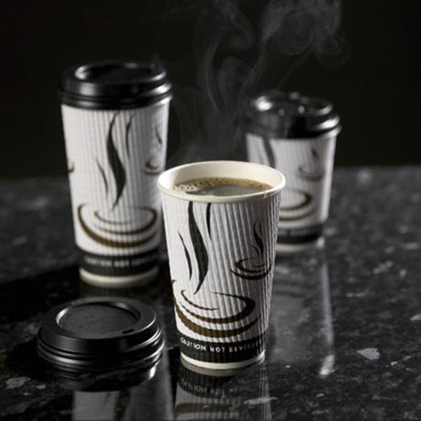 500 x 12oz tressés papier tasses de café kraft ripple 3 plis + noir couvercles