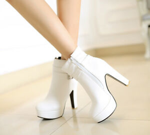 Women-039-s-Round-Toe-Shoes-Chunky-High-Heels-Slip-On-Shoes-Side-Zipper-Ankle-Boots
