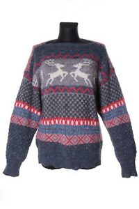 Women-039-s-BOGNER-Vintage-Fair-Isle-Alpaca-Wool-Crew-Neck-Sweater-Size-36