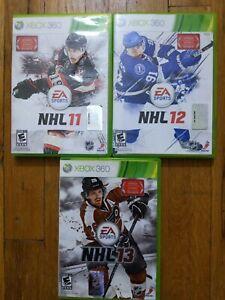 USED EA Sports Xbox 360 Hockey Lot of 3 - NHL 11, NHL 12, NHL 13 - Free Shipping