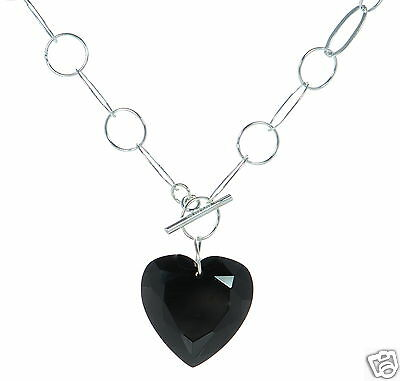 "Modest Joseph Esposito Massiccio 925 Argento Sterling Onice Nera Cuore 18 "" A Collana Skilful Manufacture Jewelry & Watches"
