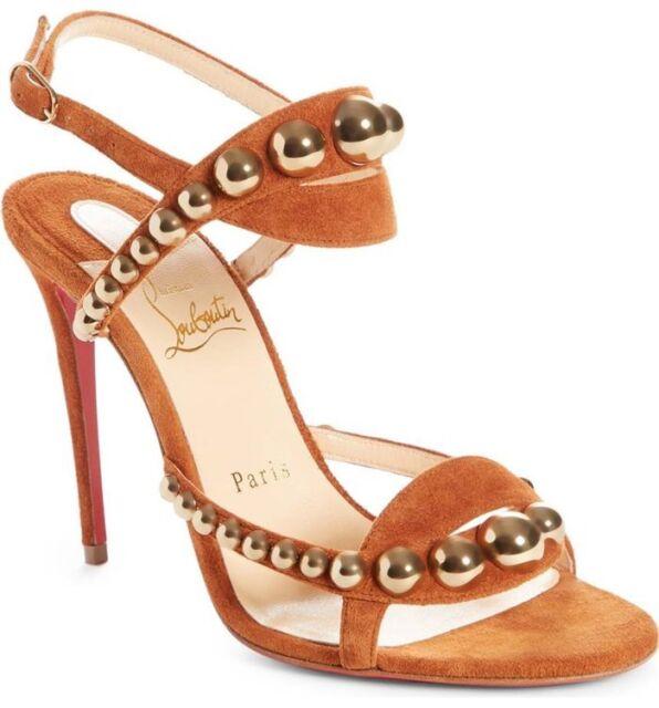 meet 4f0de 65e26 Christian Louboutin Galeria Suede 100 Sandals Tan Bubble Studs Pumps 37.5  Shoes