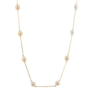 """10K Gold 24"""" Necklace, twelve 7-8mm Multicolored Rice Freshwater pearls PC-12"""