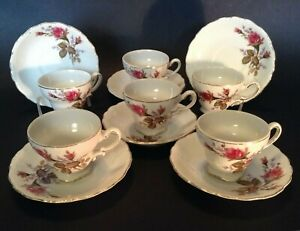 Set Of 6 Demitasse Cups Saucers - Pink Moss Rose - Gilded Rims - Made In Japan