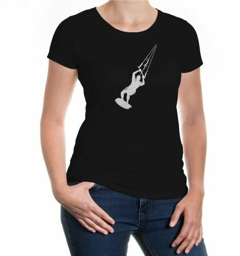Damen Kurzarm Girlie T-Shirt Kite-surfing Kitesurfen Kitesurfer Wakeboard