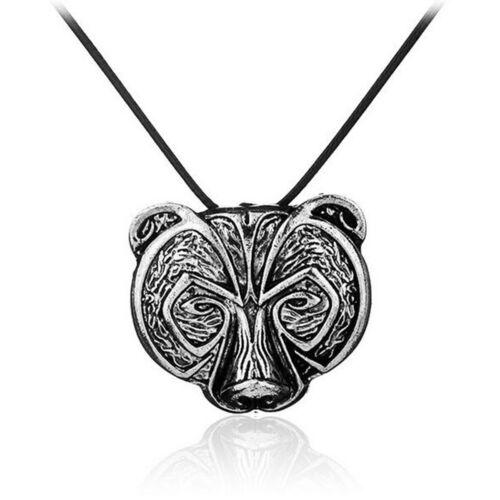 Norse Viking Bear Head Pendant Necklace Talisman Men Gift Animal Jewelry