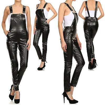 Sexy Hot Black Faux Leather Bib Overall  Romper Jumpsuit Pants Leggings Jeggings