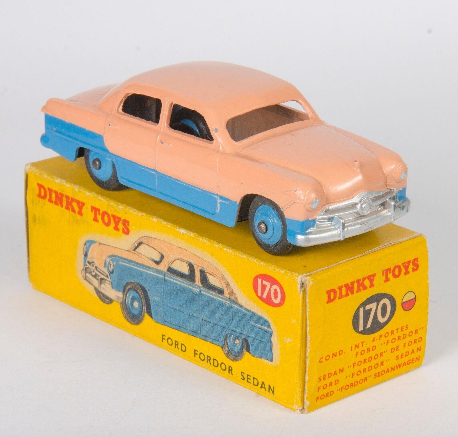 Dinky 170 Ford Fordor Sedan. Rare Low-Line bluee Salmon Upper. Original 1950s