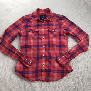 American-Eagle-Women-039-s-Size-XS-Top-Pink-Blue-Plaid-Flannel-Pearl-Snaps-Pockets