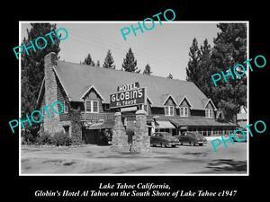 OLD-LARGE-HISTORIC-PHOTO-OF-LAKE-TAHOE-CALIFORNIA-GOBLINS-HOTEL-AL-TAHOE-c1947