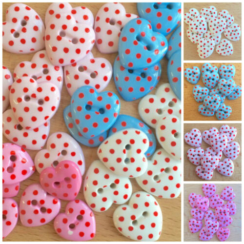 blue pink white valentines love hearts 5 spot heart buttons style 2