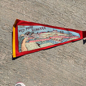 Vintage-28-034-Inch-Old-Fort-Niagara-Souvenir-Pennant-Youngstown-New-York